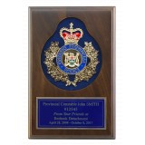 Walnut Plaque with Keyhole recess, blue flocked background, crest and engraving plate.
