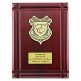 9 by 12 rosewood finish plaque with deep cut boarder.  Includes Crest and Sublimated plate.