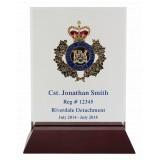 "9.75"" x 10"" x 3"" Acrylic Award with Rosewood Base"