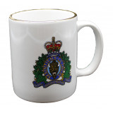 White Mug with Gold toned rim and Screened RCMP Crest