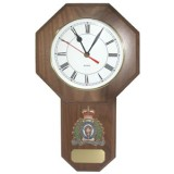 Walnut Wall Clock with full colour gold toned RCMP Crest and engraving plate
