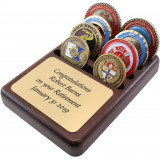 Challenge Coins in a 4 slot holder & Gold Sublimated Plate