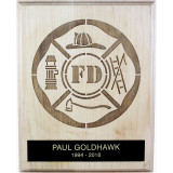Solid Maple Plaque with laser engraved Maltese cross and Black engraving plate with gold lettering