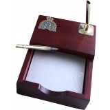 Rosewood Paper memo holder with pewter crest and gold toned Pen holder, Pen included.