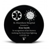 "7"" Circle Black Glass Recognition Plaque"