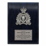 Crested Blue Wood Plaque