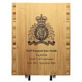 8'' x 10'' Lasered Bamboo Plaque