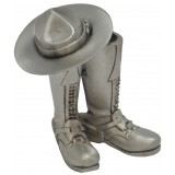 Pewter Boots and Stetson Paperweight