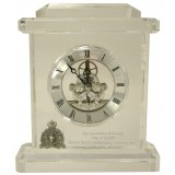 Crystal Skeleton Clock with Etched Inscription and Pewter Crest