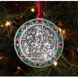 Singing Carolers with Stained Glass Border