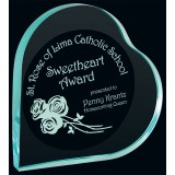 "5"" Jade Heart Acrylic Award with Laser Etching"