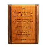 8x10 2-Tone Red Alder and Solid Walnut Plaque with Laser Etching on Wood