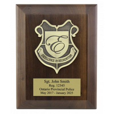 7 by 9 walnut rectangle plaque with beveled edge, crest, and plate