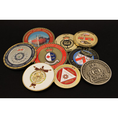 A variety of challenge coins