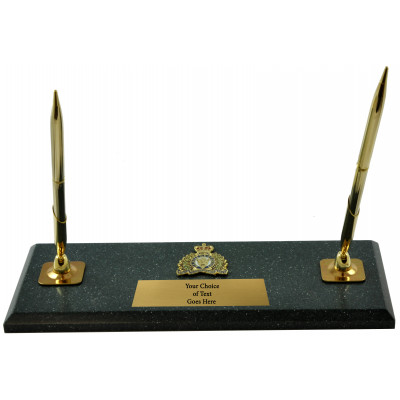 Gold Crested Jade pen holder with 2 golden pens and a sublimation plate.