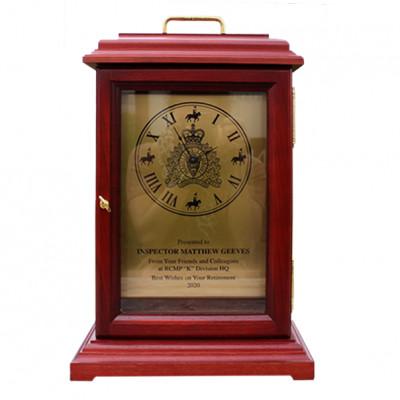 Collectors Series RCMP Rosewood Finish Clock