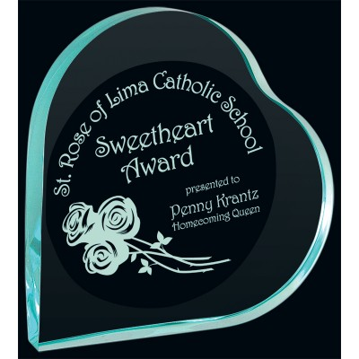 Jade Heart Acrylic Award with Laser Etching
