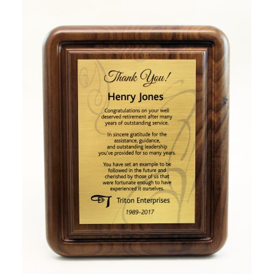 8x10 Walnut Gallery Plaque with Sublimated Full Plate